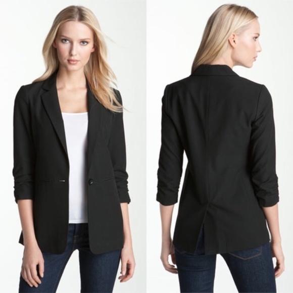e0af815a90a47 ... Black Ruched Sleeve Blazer Size 8. M 5b57e17803087cfae55b0b52